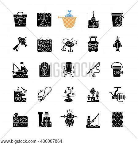 Fishing Equipment Black Glyph Icons Set On White Space. Fishing Lounger Chair. Cooking Freshly Caugh
