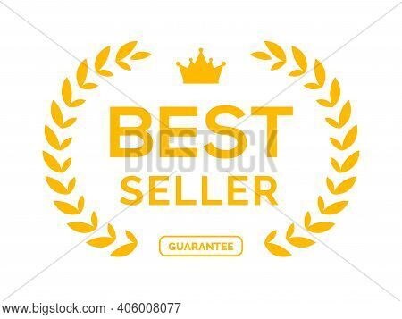 Best Seller Ceremony Award Laurel Winner. Best Seller Wreath Gold Logo Symbol