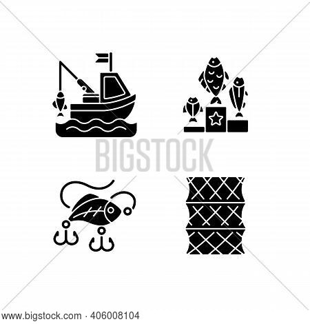 Fishing Gear Black Glyph Icons Set On White Space. Boat Fishing. Variety Of Plastic Baits, Wobbler.