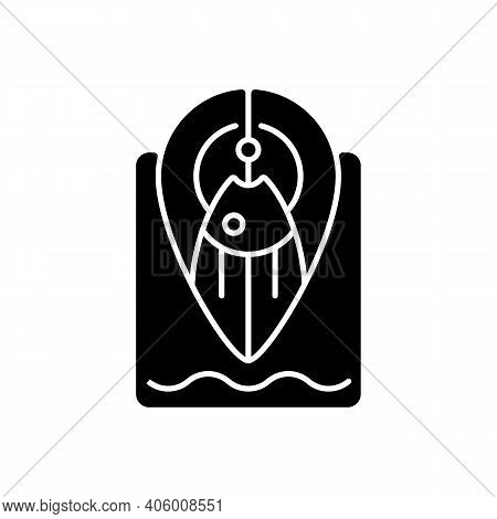 Fishing Spot Black Glyph Icon. Navigation Tip For Finding Top Fishing Place. Point On Map. Hobby And
