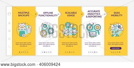 Software As Service Pluses Onboarding Vector Template. Offline Functionality. Accurate Analytics. Mo