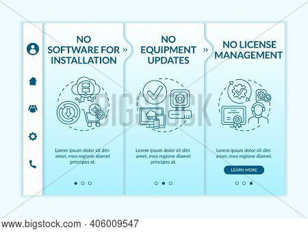 Software As Service Benefits Onboarding Vector Template. No Software For Setup. No Upgrades Manageme