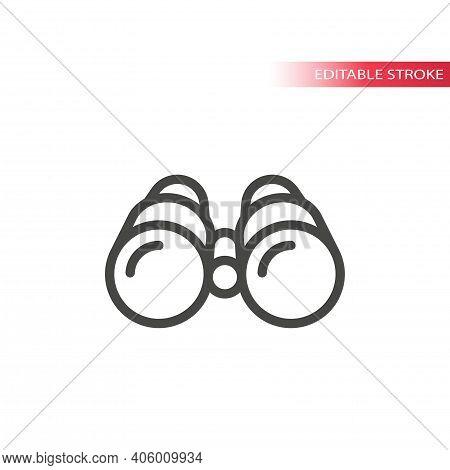 Binoculars Line Vector Icon. Outline Binocular Symbol, Editable Stroke.