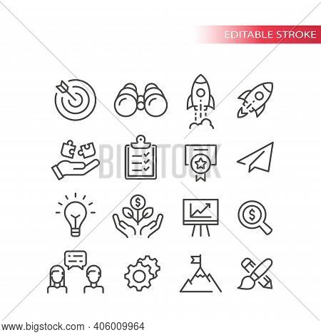 Business Startup Line Vector Icon Set. Growth, Start Up Development And Launch Icons. Outline, Edita