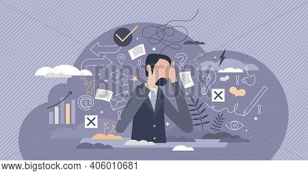 Information Overload Or Job Burnout With Stress And Chaos Tiny Person Concept