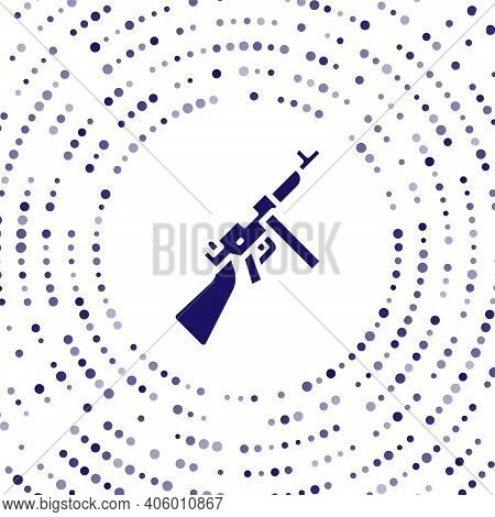 Blue Thompson Tommy Submachine Gun Icon Isolated On White Background. American Submachine Gun. Abstr