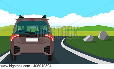Rear Side Of Brown Family Car. Shadow Of A Woman And A Man Driving In A Car. Travel On A Road That C