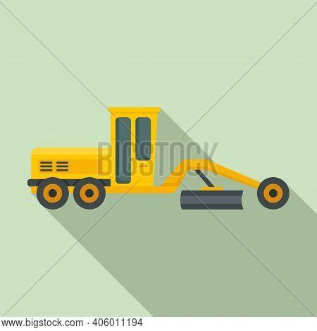 Grader Machine Bulldozer Icon. Flat Illustration Of Grader Machine Bulldozer Vector Icon For Web Des