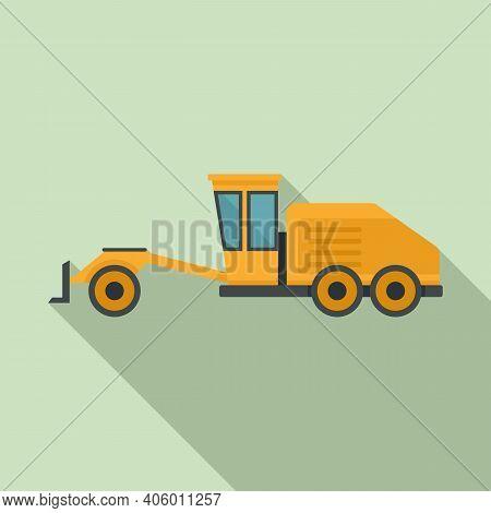 Grader Machine Machinery Icon. Flat Illustration Of Grader Machine Machinery Vector Icon For Web Des