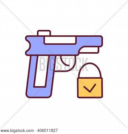 Gun Rights Rgb Color Icon. Secure Firearms Handling. Weapon For Protection. Handgun Regulation. Legi