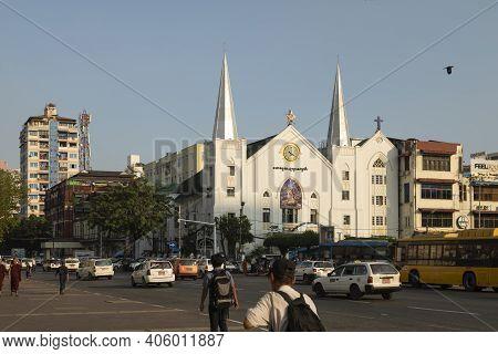 Yangon, Myanmar - December 19, 2019: General View To The East, Of Emmanuel Baptist Church, Surrounde