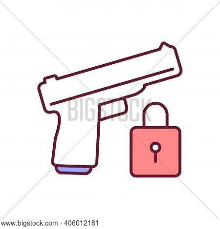 Firearm Security Rgb Color Icon. Personal Safety, Protection Of Life, Violence Prevention. Gun Contr