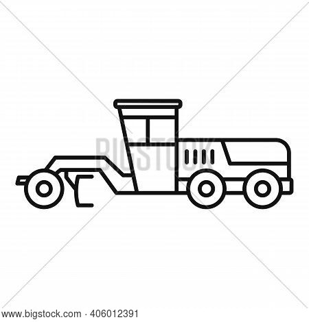 Grader Machine Building Icon. Outline Grader Machine Building Vector Icon For Web Design Isolated On