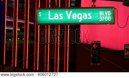 Fabulos Las Vegas, Traffic Sign Glowing On The Strip In Sin City Of Usa. Iconic Signboard On The Roa