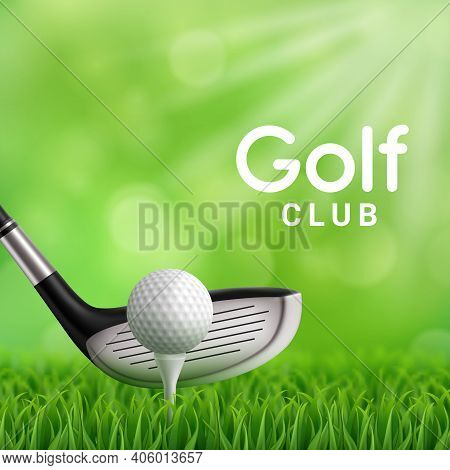 Golf Club, Ball And Tee On Grass Field Realistic Vector Design Of Golf Sport Game Club. 3d Iron Pitc