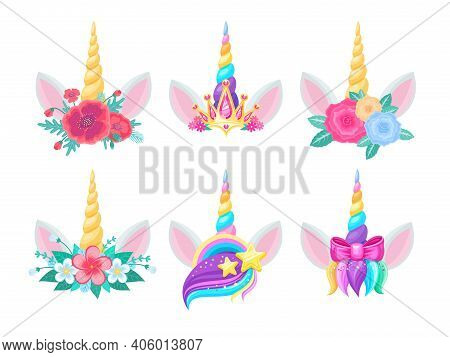 Unicorn Heads With Horns, Flowers And Ears. Vector Cute Magic Horse Animals, Decorated With Floral B