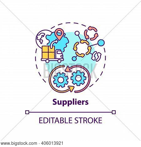 Suppliers Concept Icon. Co-creation Participant Idea Thin Line Illustration. Providing Product And S