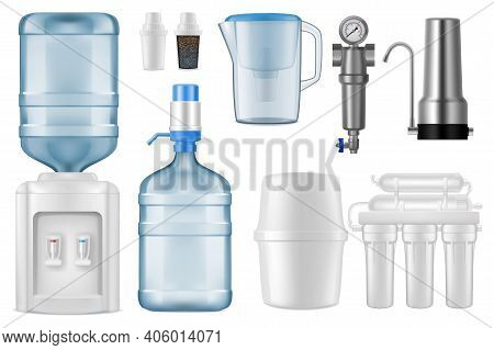 Water Filter Realistic Vector Mockups. 3d Filtration Jug And Purification System Of Reverse Osmosis