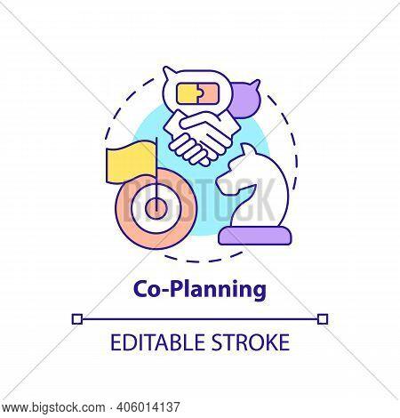 Co-planning Concept Icon. Co-production Element Idea Thin Line Illustration. Participatory Approach