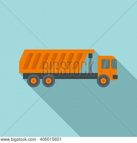 Tipper Building Icon. Flat Illustration Of Tipper Building Vector Icon For Web Design