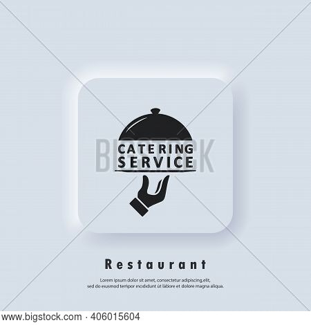 Catering Service Logo. Catering Services Icon. Vector. Neumorphic Ui Ux White User Interface Web But