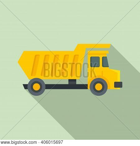 Tipper Unloading Icon. Flat Illustration Of Tipper Unloading Vector Icon For Web Design
