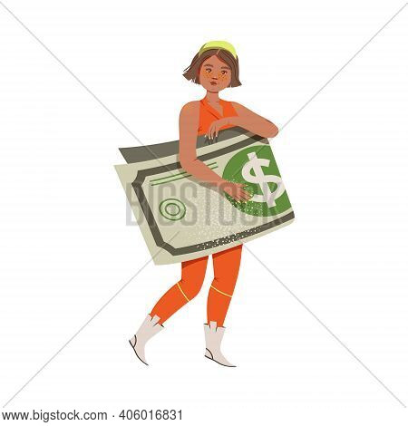 Woman Holding Folded Dollar Banknote As Earning Gaining Vector Illustration
