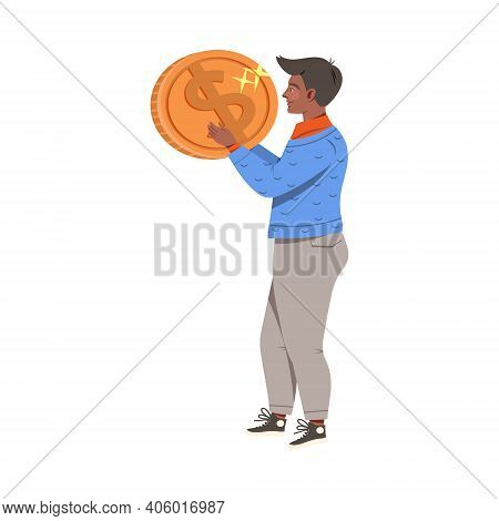 Man Holding Shiny Dollar Coin As Earning Gaining Vector Illustration