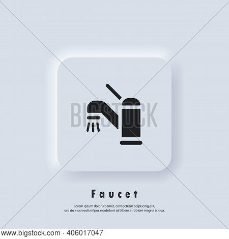 Faucet Icon. Faucet Logo. Vector. Ui Icon. Neumorphic Ui Ux White User Interface Web Button.