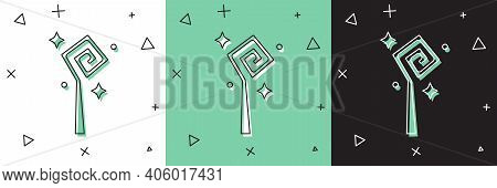 Set Magic Staff Icon Isolated On White And Green, Black Background. Magic Wand, Scepter, Stick, Rod.