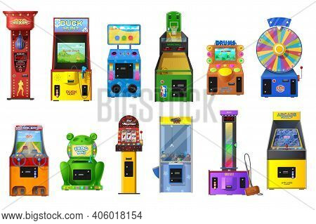 Game Machines Vector Set Of Arcade Video, Casino Slot, Claw Crane And Wheel Of Fortune. Basketball,