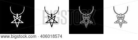 Set Pentagram On Necklace Icon Isolated On Black And White Background. Magic Occult Star Symbol. Vec