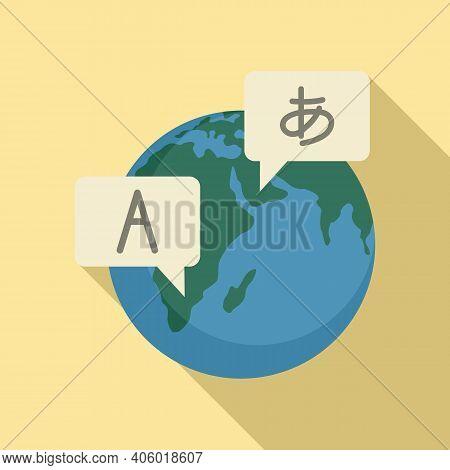 Global Foreign Language Icon. Flat Illustration Of Global Foreign Language Vector Icon For Web Desig