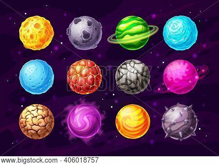 Alien Space Planets Cartoon Vector Design Of Space Game Ui, User Interface. Fantasy Universe Galaxy