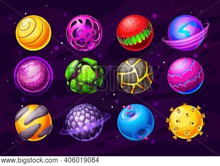 Alien Life Planets, Fantasy Space Worlds Cartoon Icons. Colorful Fantastic Planets Or Asteroids With
