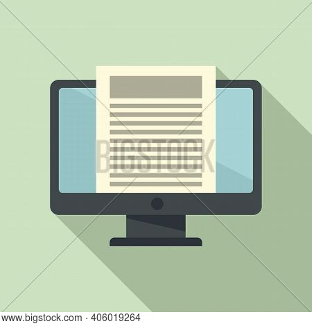Foreign Language Pc Monitor Icon. Flat Illustration Of Foreign Language Pc Monitor Vector Icon For W