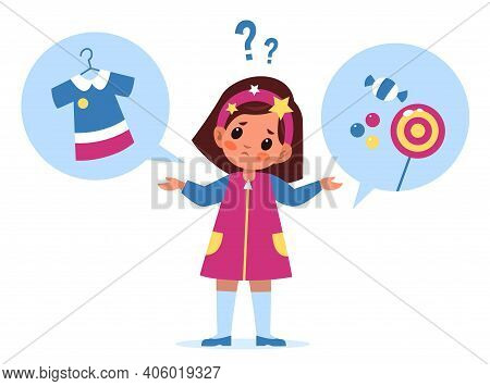 Kids Choice. Little Girl Choosing Option, Sweets Or New Dress Options, Thought Process, Pensive Pose
