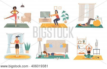 Home Sport Training. Female Fitness Activity In Room, Healthy Lifestyle And Workout Scenes Set, Girl