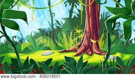 Cartoon Game Interface, Vector Forest Background Or Jungle Landscape, Seamless Parallax Effect. Pano