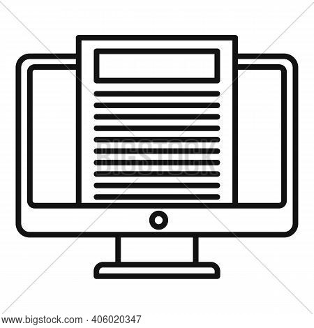 Foreign Language Pc Monitor Icon. Outline Foreign Language Pc Monitor Vector Icon For Web Design Iso