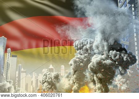 Big Smoke Column With Fire In Abstract City - Concept Of Industrial Blast Or Terrorist Act On German