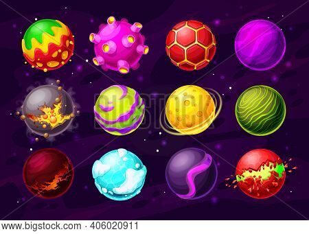 Space Game Fantasy Planets With Cartoon Vector Alien Galaxy Universe Asteroids, Craters And Orbits,