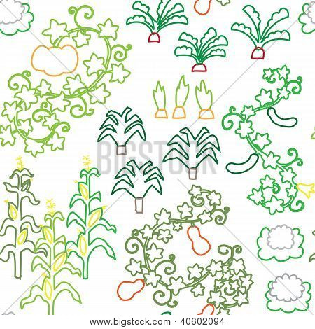 Seamless stroke vegetable harvest garden pattern