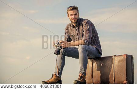 Be A Traveler. Business Trip. Macho Man Tourist Sit On Tour Bag. Traveler Wait For Flight. Move. Sex