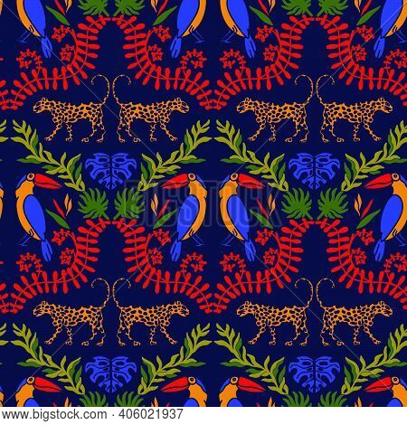 Tropical Damask Seamless Vector Pattern With Toucan, Leopard And Tropical Leaves. Modern Damask Brig