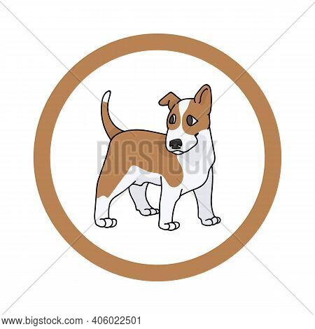 Cute Cartoon Bull Terrier In Circle Puppy Vector Clipart. Pedigree Kennel Doggie Breed For Kennel Cl