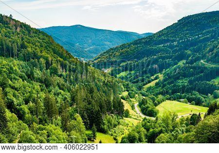 Scenic Panorama Of The Black Forest Mountains In Baden-wurttemberg, Germany