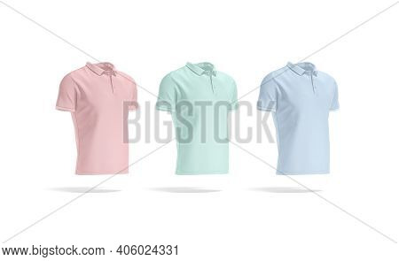 Blank Colored Polo Shirt Mockup Set, Side View, 3d Rendering. Empty Pink, Green And Blue Cotton Polo
