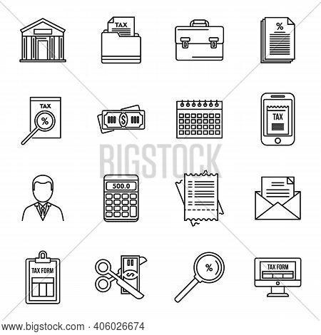 Tax Inspector Audit Icons Set. Outline Set Of Tax Inspector Audit Vector Icons For Web Design Isolat