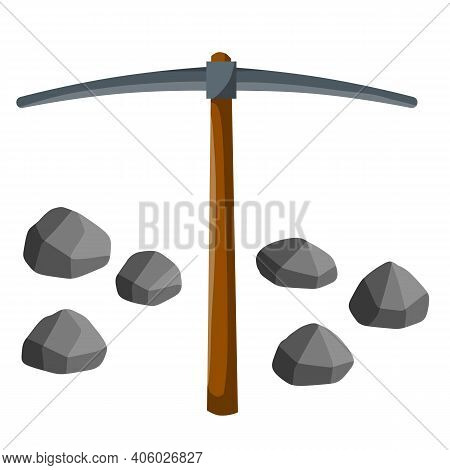 Set Of Objects Of Miner. Extraction Of Mineral. Pickaxe And Stones. Cartoon Flat Illustration. Techn